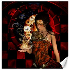 Steampunk, Beautiful Steampunk Lady With Clocks And Gears Canvas 16  X 16   by FantasyWorld7