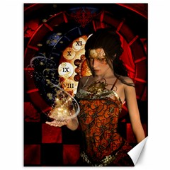 Steampunk, Beautiful Steampunk Lady With Clocks And Gears Canvas 36  X 48   by FantasyWorld7