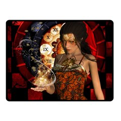 Steampunk, Beautiful Steampunk Lady With Clocks And Gears Fleece Blanket (small) by FantasyWorld7