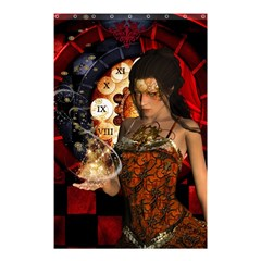 Steampunk, Beautiful Steampunk Lady With Clocks And Gears Shower Curtain 48  X 72  (small)  by FantasyWorld7