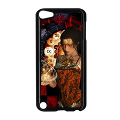 Steampunk, Beautiful Steampunk Lady With Clocks And Gears Apple Ipod Touch 5 Case (black) by FantasyWorld7