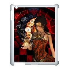Steampunk, Beautiful Steampunk Lady With Clocks And Gears Apple Ipad 3/4 Case (white) by FantasyWorld7