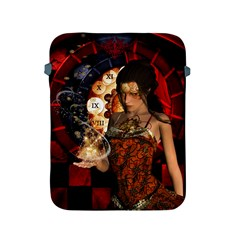 Steampunk, Beautiful Steampunk Lady With Clocks And Gears Apple Ipad 2/3/4 Protective Soft Cases by FantasyWorld7