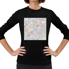 Solved Word Search Name Tag   100 Common Female Names Women s Long Sleeve Dark T Shirt by DownUnderSearcher