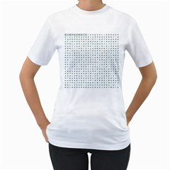 Word Search Name Tag   100 Common Female Names Women s T Shirt (white) (two Sided) by DownUnderSearcher