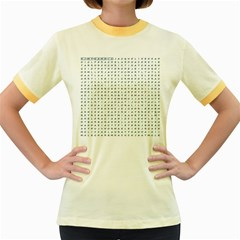 Word Search Name Tag   100 Common Female Names Women s Fitted Ringer T Shirts by DownUnderSearcher