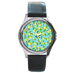 Lemon Pattern Round Metal Watch by Valentinaart