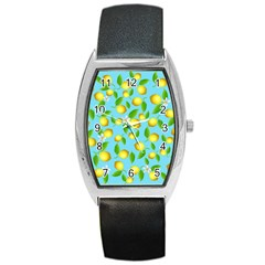 Lemon Pattern Barrel Style Metal Watch by Valentinaart