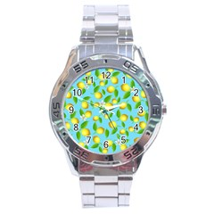 Lemon Pattern Stainless Steel Analogue Watch by Valentinaart