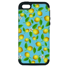 Lemon Pattern Apple Iphone 5 Hardshell Case (pc+silicone) by Valentinaart
