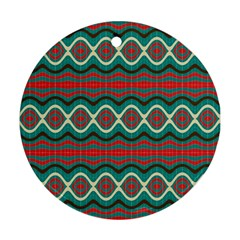 Ethnic Geometric Pattern Round Ornament (two Sides) by linceazul