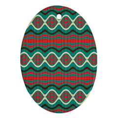 Ethnic Geometric Pattern Oval Ornament (two Sides) by linceazul