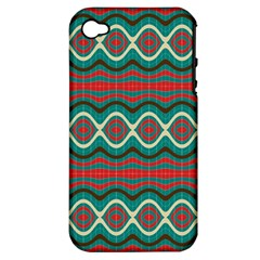 Ethnic Geometric Pattern Apple Iphone 4/4s Hardshell Case (pc+silicone) by linceazul