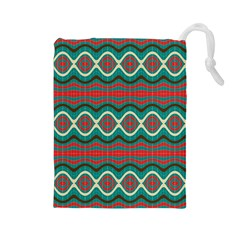 Ethnic Geometric Pattern Drawstring Pouches (large)  by linceazul