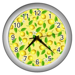 Lemon Pattern Wall Clocks (silver)  by Valentinaart