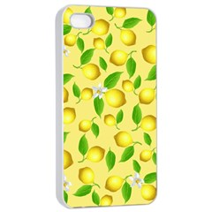 Lemon Pattern Apple Iphone 4/4s Seamless Case (white) by Valentinaart