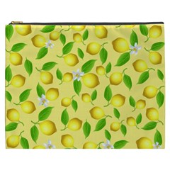 Lemon Pattern Cosmetic Bag (xxxl)  by Valentinaart
