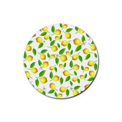 Lemon Pattern Rubber Coaster (round)  by Valentinaart
