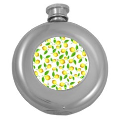 Lemon Pattern Round Hip Flask (5 Oz) by Valentinaart