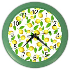 Lemon Pattern Color Wall Clocks by Valentinaart