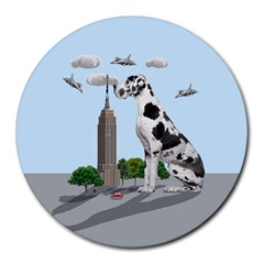 Great Dane Round Mousepads by Valentinaart