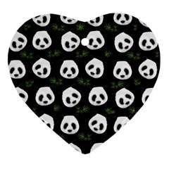Panda Pattern Heart Ornament (two Sides) by Valentinaart