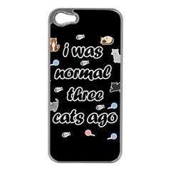 I Was Normal Three Cats Ago Apple Iphone 5 Case (silver)