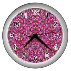 Fantasy Magnolia Tree In A Fantasy Landscape Wall Clocks (silver)  by pepitasart