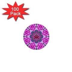 Fantasy Cherry Flower Mandala Pop Art 1  Mini Buttons (100 Pack)  by pepitasart