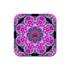 Fantasy Cherry Flower Mandala Pop Art Rubber Coaster (square)  by pepitasart