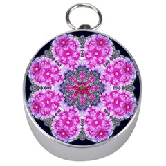 Fantasy Cherry Flower Mandala Pop Art Silver Compasses by pepitasart