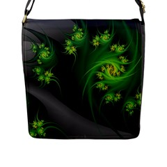 Abstraction Embrace Fractal Flowers Gray Green Plant  Flap Messenger Bag (l)  by amphoto