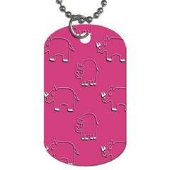 Rhino Pattern Wallpaper Vector Dog Tag (one Side) by Nexatart