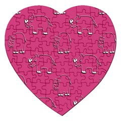 Rhino Pattern Wallpaper Vector Jigsaw Puzzle (heart)