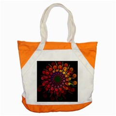 Rainbow Flower Spiral Fractal Accent Tote Bag by amphoto