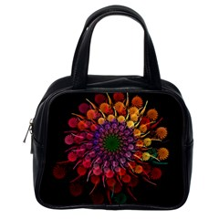 Rainbow Flower Spiral Fractal Classic Handbags (one Side) by amphoto