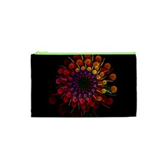 Rainbow Flower Spiral Fractal Cosmetic Bag (xs) by amphoto