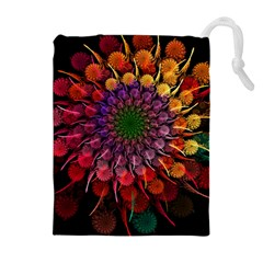 Rainbow Flower Spiral Fractal Drawstring Pouches (extra Large) by amphoto