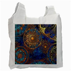 Abstract Pattern Gold And Blue Recycle Bag (one Side) by amphoto