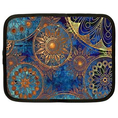 Abstract Pattern Gold And Blue Netbook Case (xxl)  by amphoto