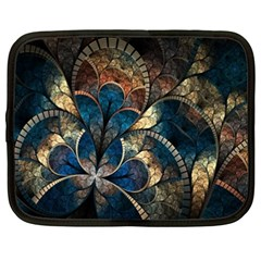 Abstract Pattern Dark Blue And Gold Netbook Case (xxl)