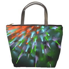 Explosion Rays Fractal Colorful Fibers Bucket Bags