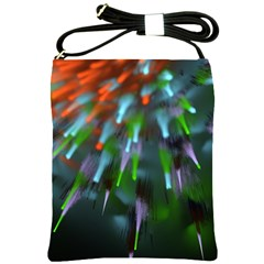 Explosion Rays Fractal Colorful Fibers Shoulder Sling Bags