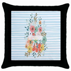 Watercolor Bouquet Floral White Throw Pillow Case (black) by Nexatart