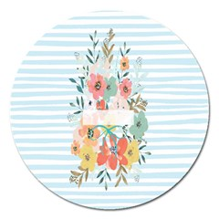 Watercolor Bouquet Floral White Magnet 5  (round) by Nexatart