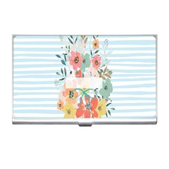 Watercolor Bouquet Floral White Business Card Holders