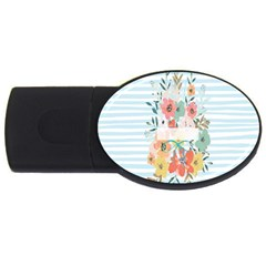 Watercolor Bouquet Floral White Usb Flash Drive Oval (2 Gb)