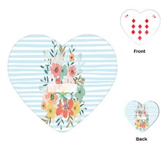 Watercolor Bouquet Floral White Playing Cards (heart)