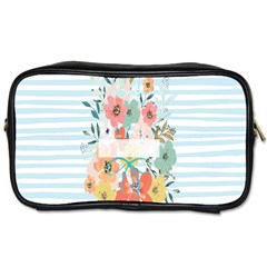 Watercolor Bouquet Floral White Toiletries Bags 2 Side by Nexatart