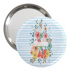 Watercolor Bouquet Floral White 3  Handbag Mirrors by Nexatart